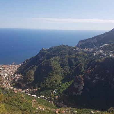 Amalfi on left, Pogerola up hill on right