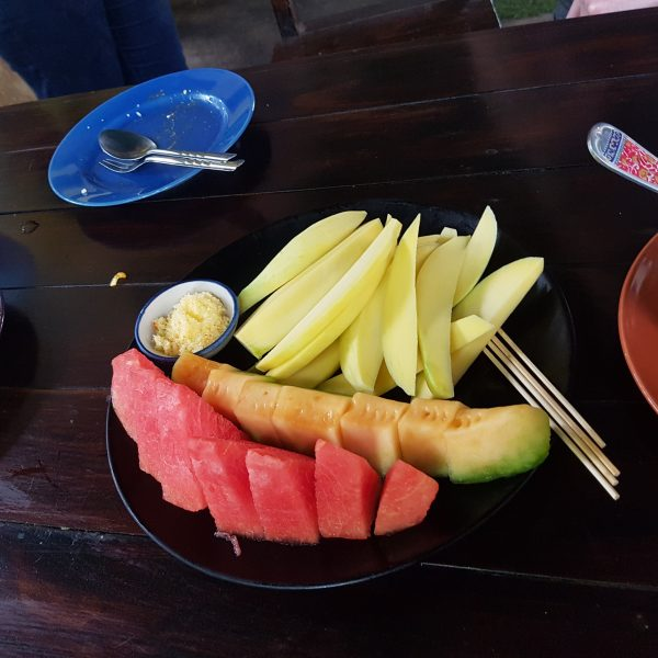 Fruit with salt/sugar dip