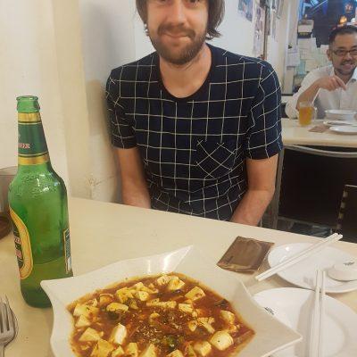 David with tofu dish