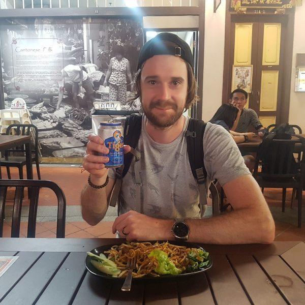 David happy with Tiger & noodles